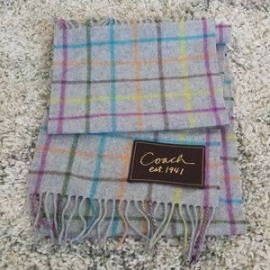 Coach Wool Cashmere Scarf Gray Plaid